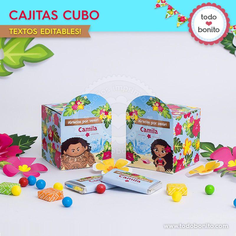 Cajitas cubo para imprimir de Moana