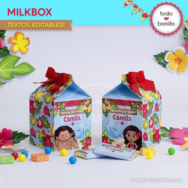 Milkbox para imprimir de Moana