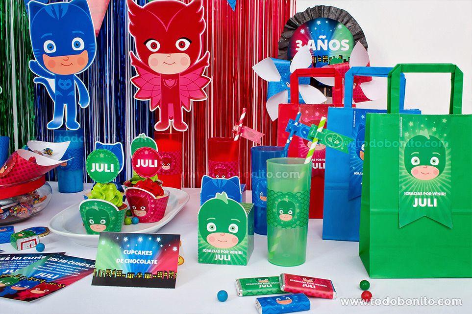 Ideas cumpleaños de heroes en pijamas para imprimir