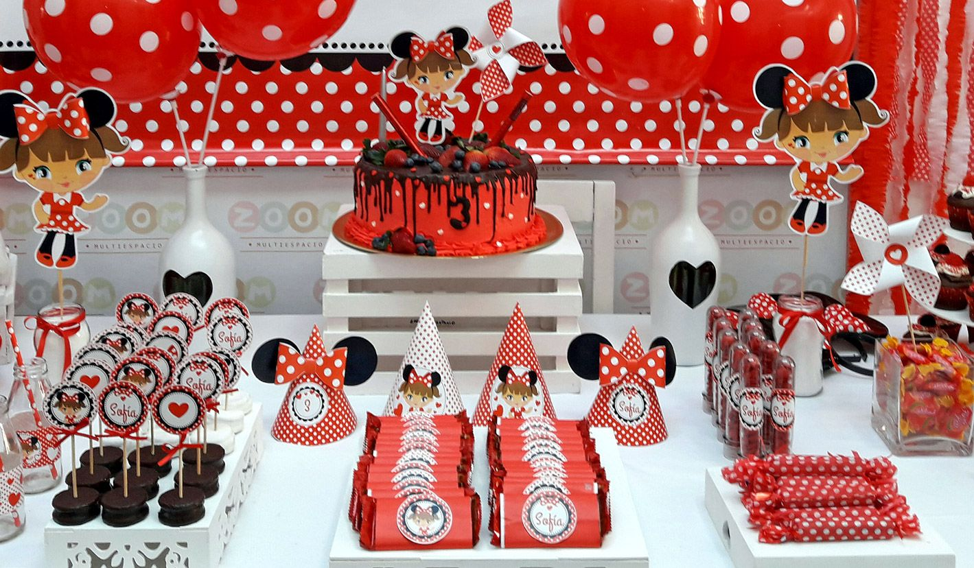 Kit imprimible Minnie Mouse Rojo