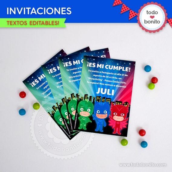 Invitaciones de Pj Masks para imprimir