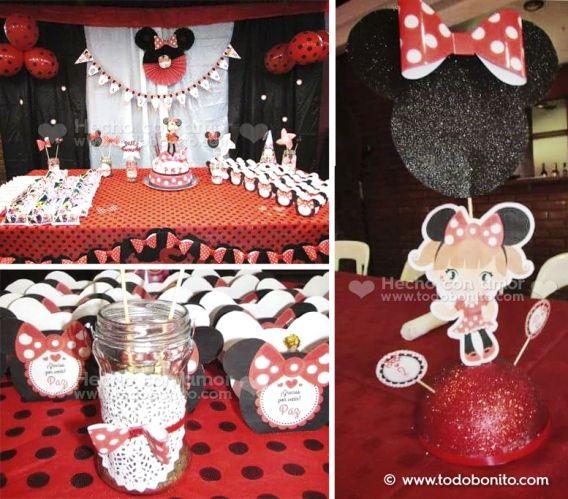 Kit imprimible Orejas Minnie en rojo y negro por Todo Bonito