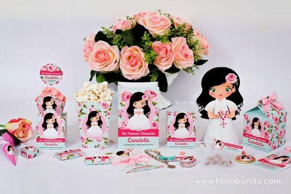 Kits imprimibles de Primera Comunión para niñas estilo romántico