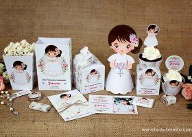 Kits imprimibles Primera Comunión de niña con un toque rústico