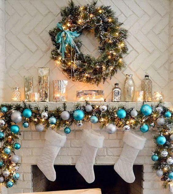 Decoración de navidad en Turquesa