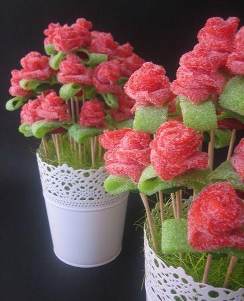 Delicadas rosas con gomitas