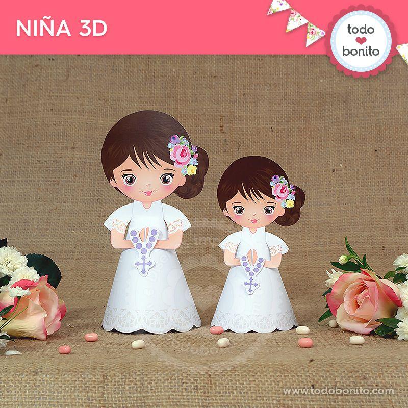 Niña 3D de Primera Comunión para niñas estilo rústico
