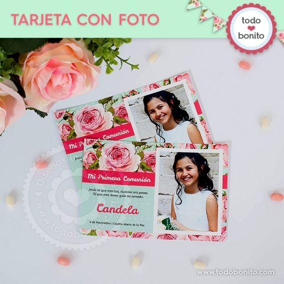Tarjeta con foto para imprimir Primera Comunión de niñas