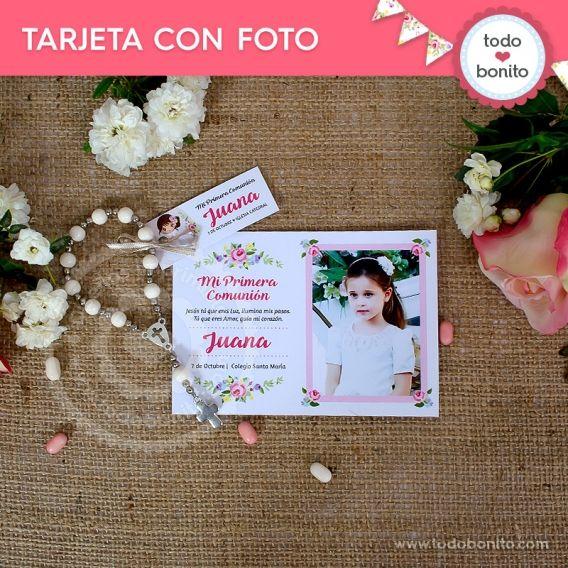 Tarjeta con foto de Primera Comunión para niñas