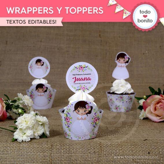 Wrappers y Toppers de Primera Comunión para niñas estilo rústico