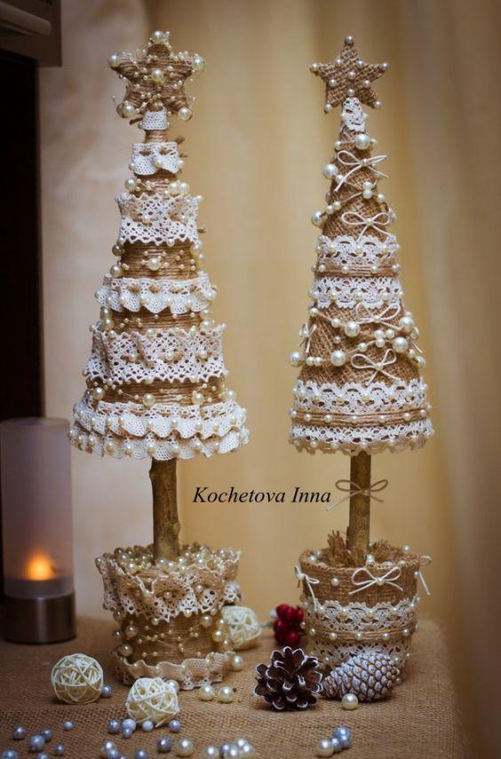 Decoración de Navidad en tonos blancos
