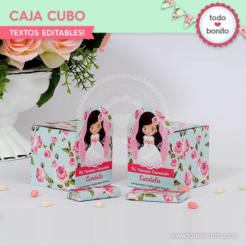 Caja cubo Primera Comunión de niñas