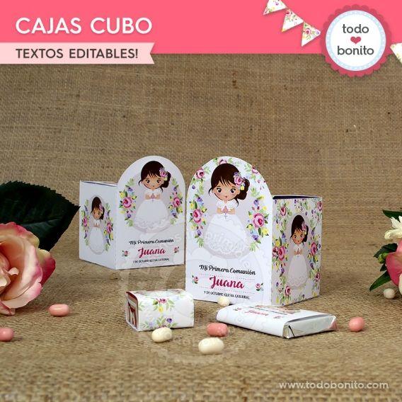 Caja Cubo de Primera Comunión para niñas estilo rústico