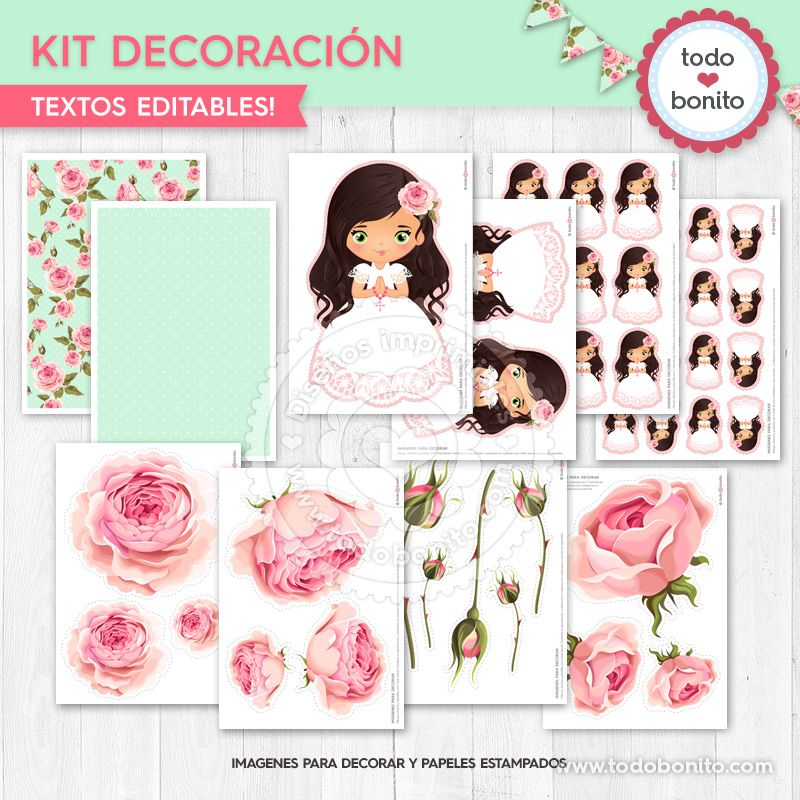 Kits imprimibles primera Comunión de niñas