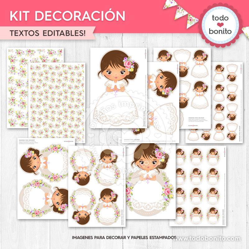 Kit Decoración de Primera Comunión para niñas estilo rústico