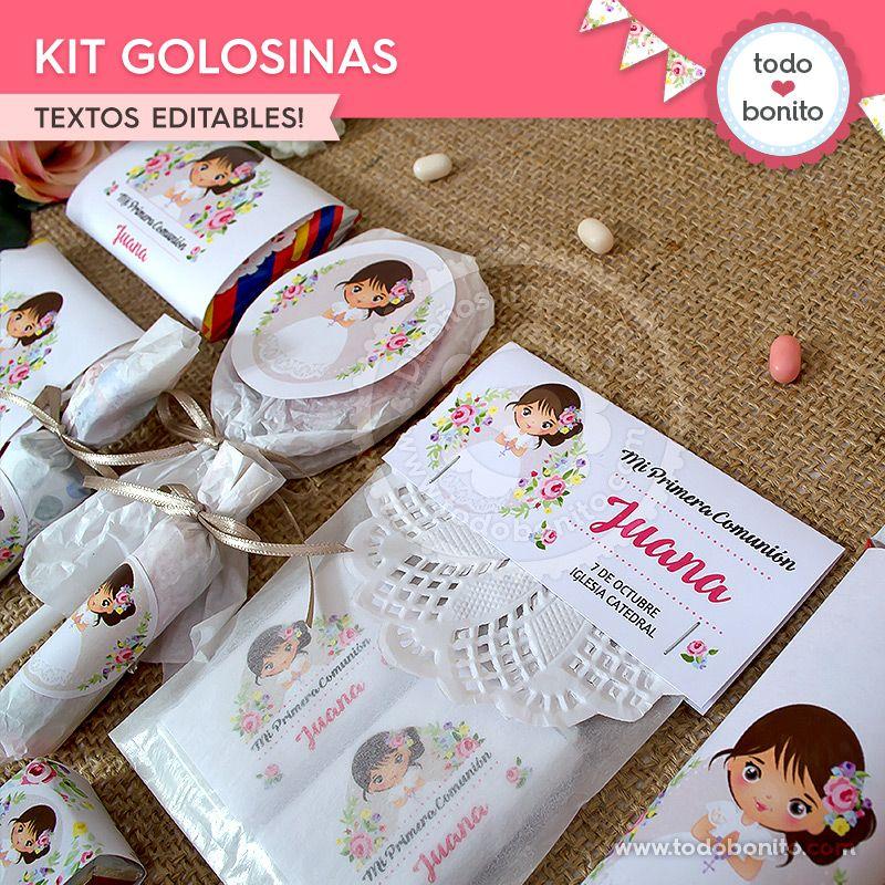 Kit golosinas de Primera Comunión para niñas estilo rústico