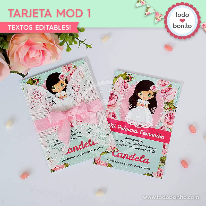 Tarjetas o estampitas para imprimir Primera Comunión de niñas