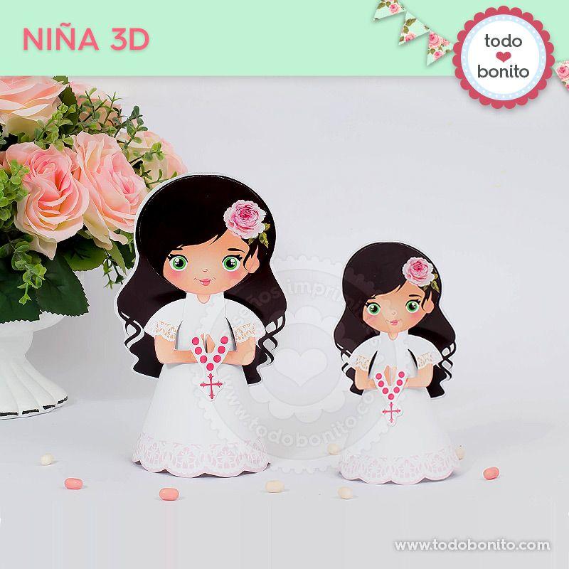 Niña 3D para imprimir Primera Comunión de niñas