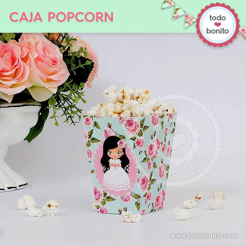 Caja popcorn para imprimir Primera Comunión de niñas