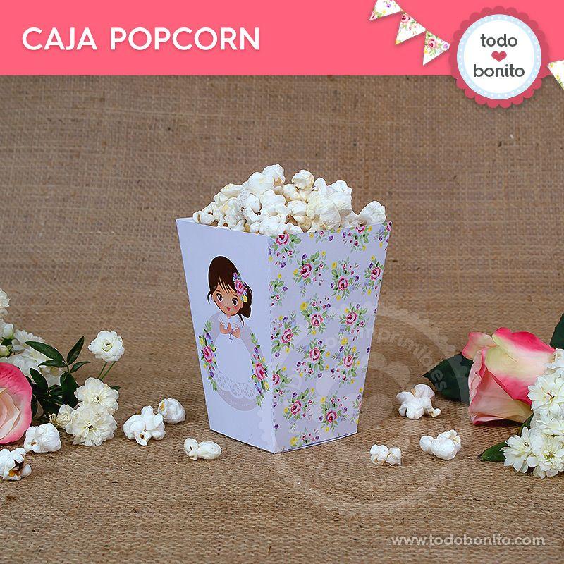 Caja Popcorn de Primera Comunión para niñas estilo rústico