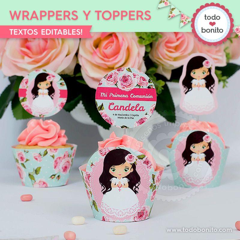 Wrappers y Toppers para imprimir Primera Comunión de niñas