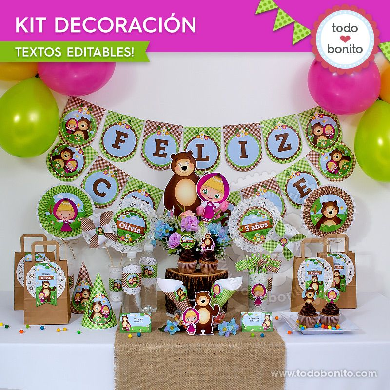Kit decoración de Masha y el Oso