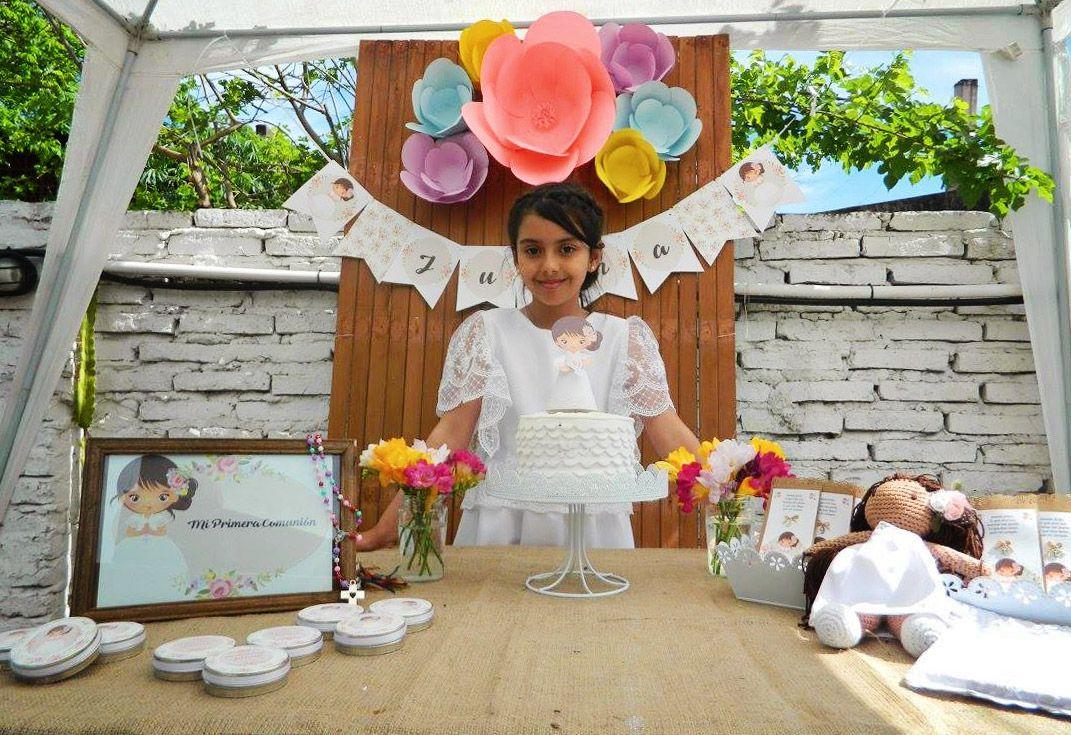 Mesa dulce de Primera Comunión para niñas estilo rústico por Todo Bonito