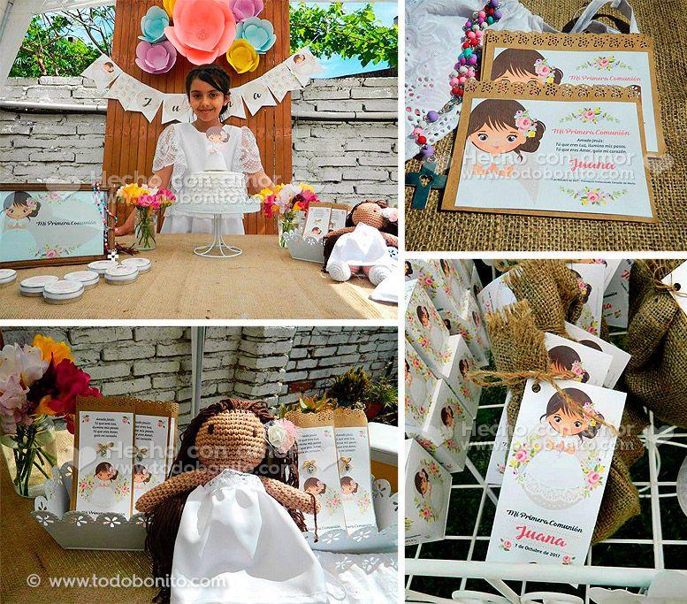 Kits Imprimibles de Primera Comunión para niñas estilo rústico por Todo Bonito