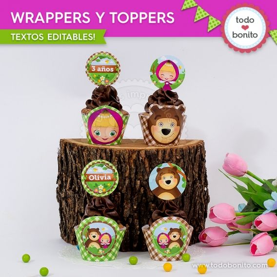Wrappers y Toppers de Masha y el Oso