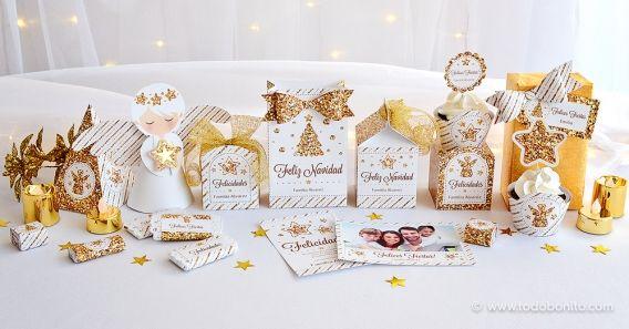 Kit imprimible de Navidad Glitter Dorado