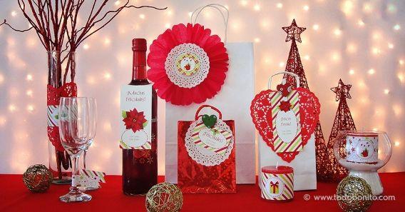 Kit imprimible de Navidad verde y rojo