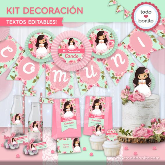 """Kit imprimible de Primera Comunión modelo """"Candela"""" por Todo Bonito"""