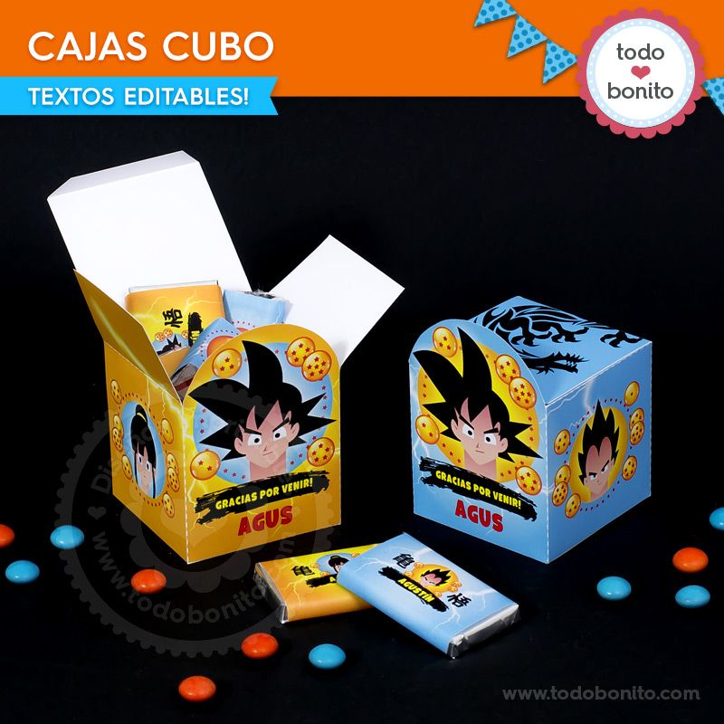 Cajas cubo del kit Imprimible de Dragon Ball