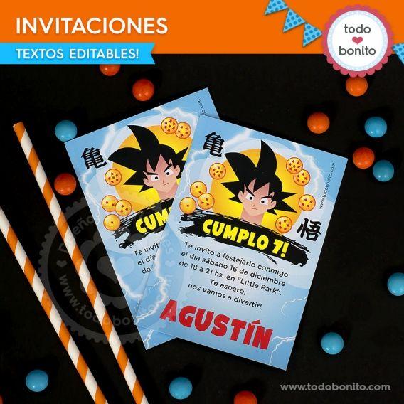 Invitaciones Kit imprimible Dragon Ball