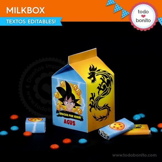 Milk Box Kit imprimible dragon ball