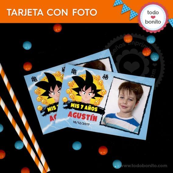 Tarjeta con Foto Kit imprimible Dragon Ball