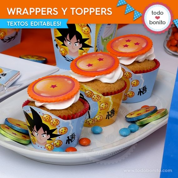 Wrappers y Toppers Kit Imprimible Dragon Ball