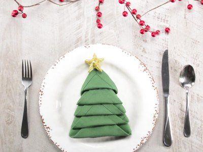 Servilletas en forma de árbol de Navidad