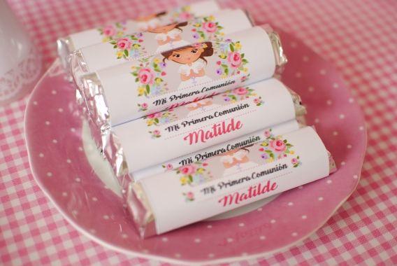 Etiquetas para dulces de Primera Comunión para niñas