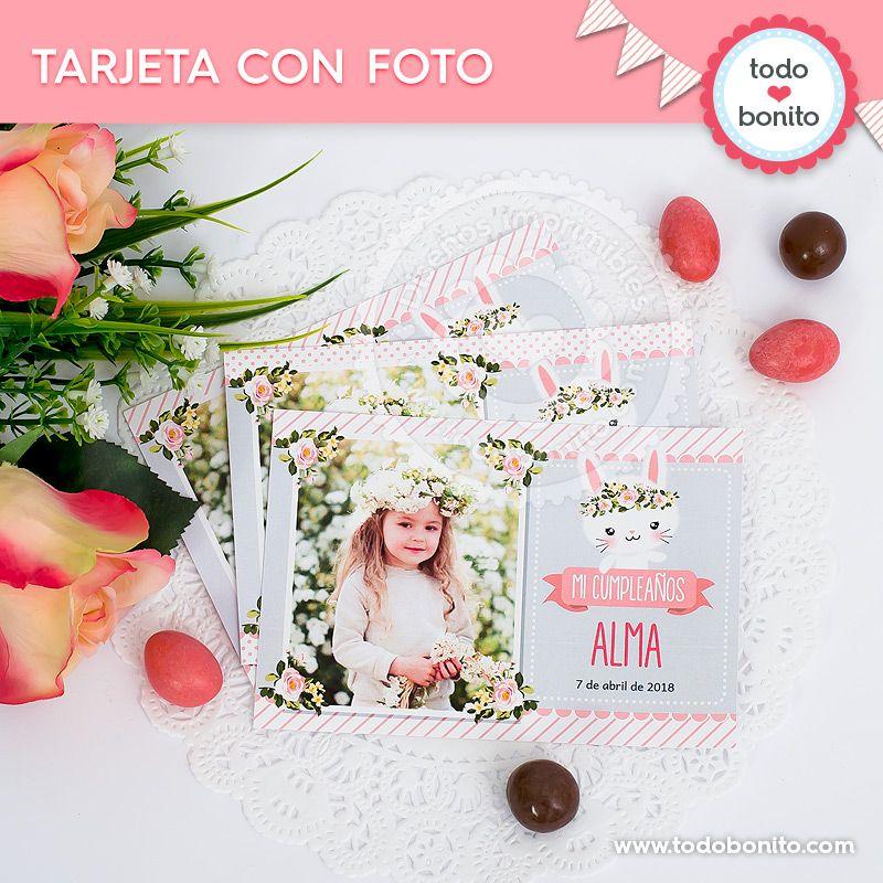Tarjeta con foto imprimible Kit Conejos Todo Bonito