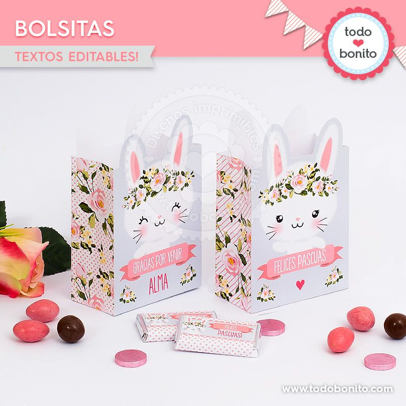 Bolsitas imprimibles Kit Conejos Todo Bonito