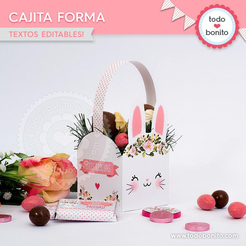 Cajita con Forma imprimible Kit Conejos Todo Bonito