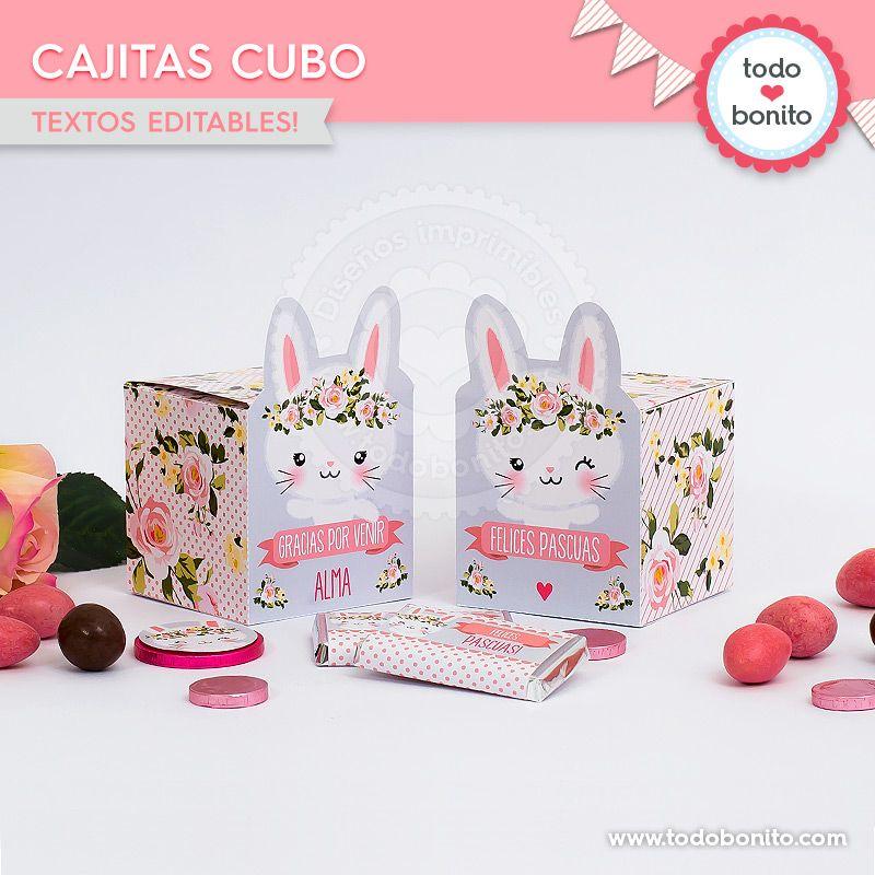 Cajas cubo para imprimir de conejitas