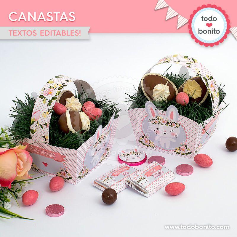Canastas imprimibles Kit Conejos Todo Bonito