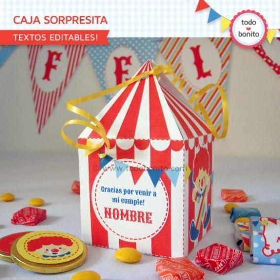 Caja Sorpresita Imprimible Kit Circo Niños Todo Bonito