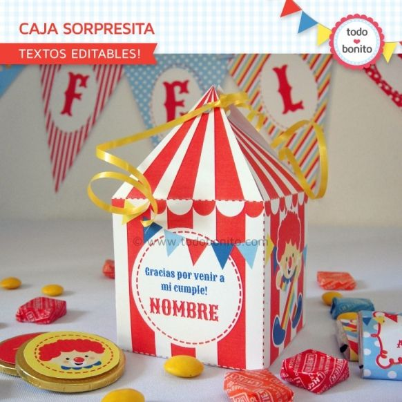 Caja Sorpresita Kit imprimible Circo Niños Todo Bonito