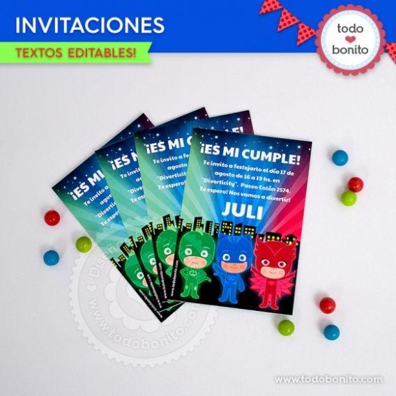 Invitaciones imprimibles PJ Masks