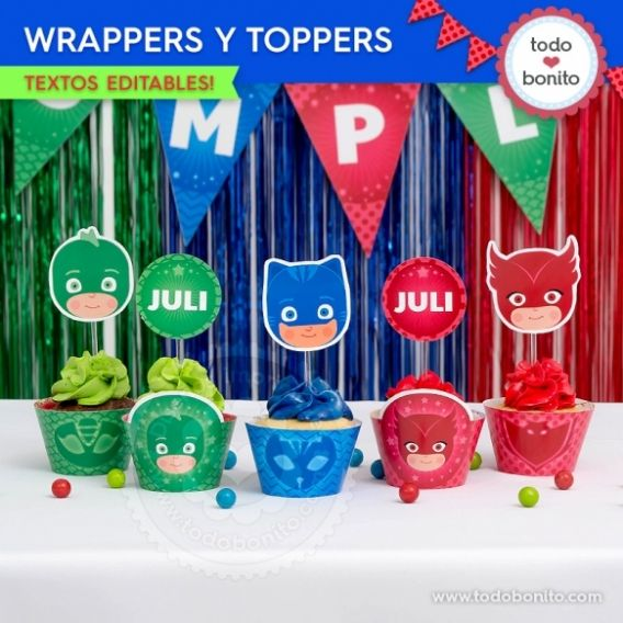 Wrappers y Toppers PJ Masks Todo Bonito
