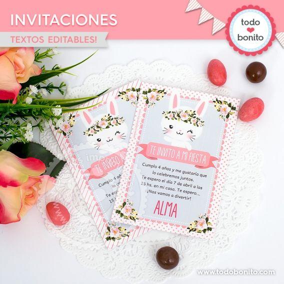 Invitaciones para imprimir de conejitas