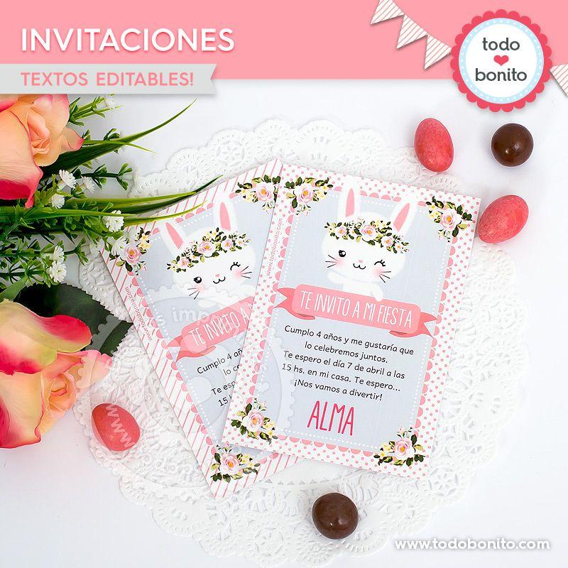 Invitaciones imprimibles Kit Conejos Todo Bonito